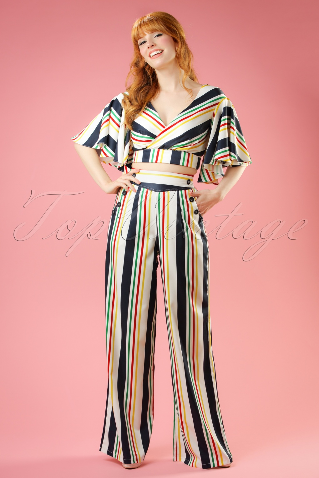 1940s Style Pants & Overalls- Wide Leg, High Waist 40s Hailey Striped Trousers in White £42.09 AT vintagedancer.com