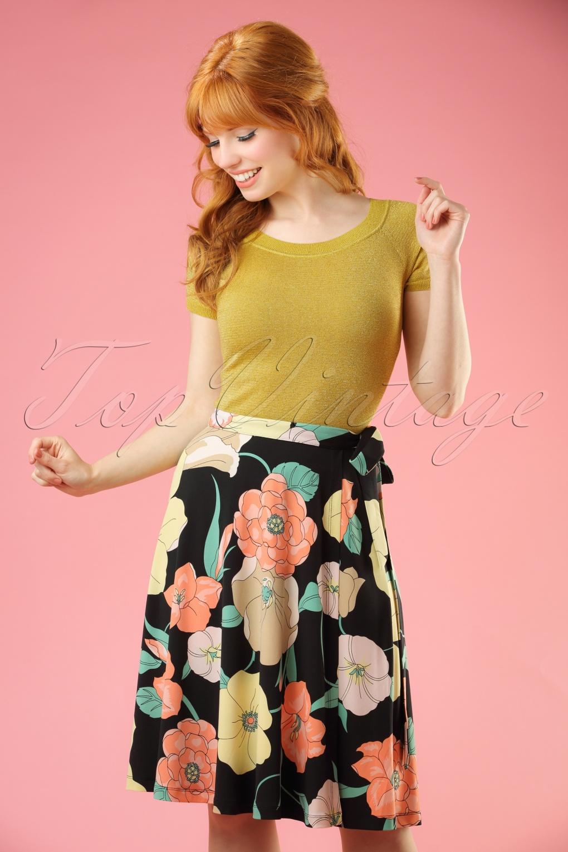 1960s Style Skirts 60s Stellar Wrap Skirt in Black £68.68 AT vintagedancer.com