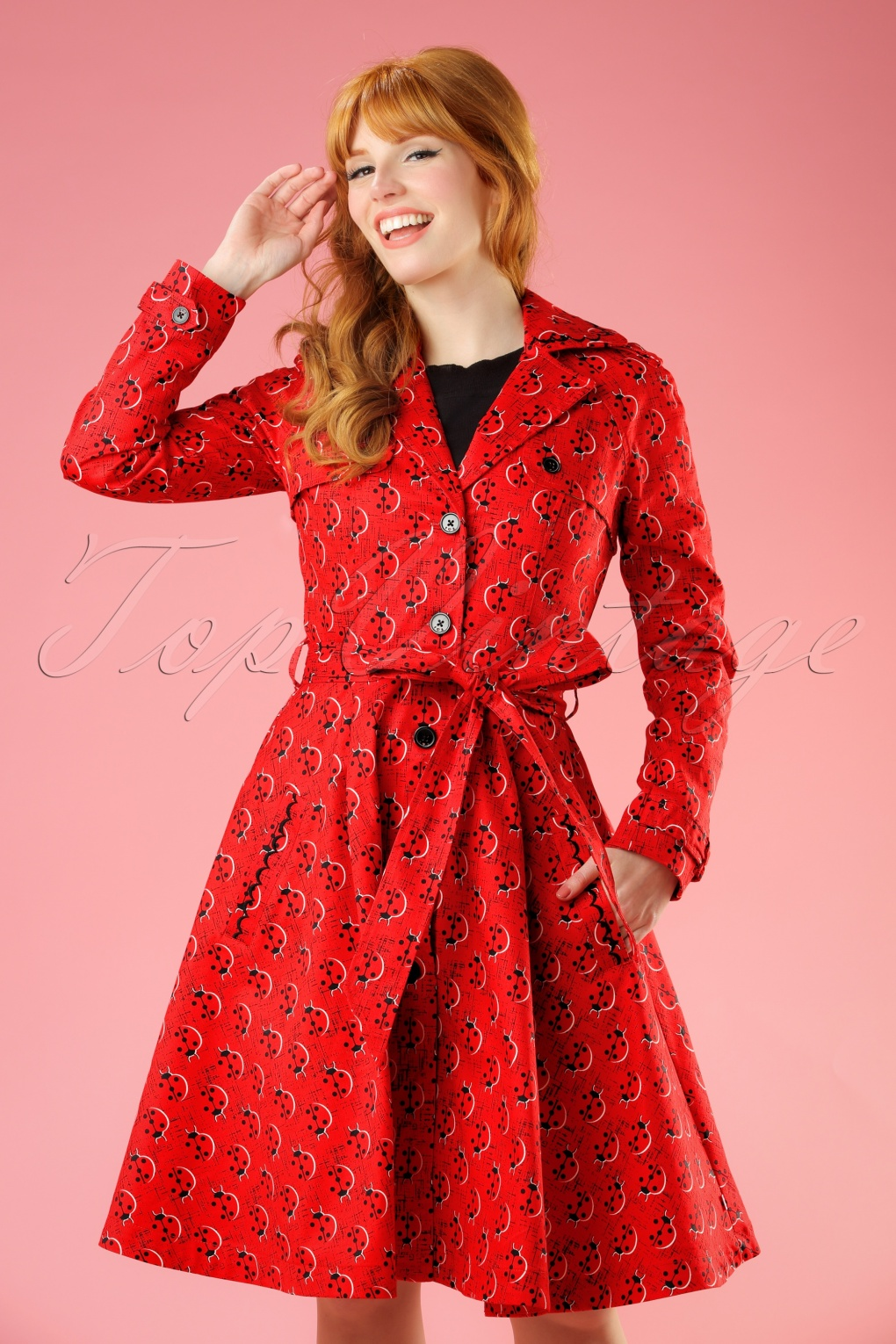 Retro Vintage Style Coats, Jackets, Fur Stoles 50s Glienicke Spy Swap Trenchcoat in Lovely Ladybug Red £140.69 AT vintagedancer.com