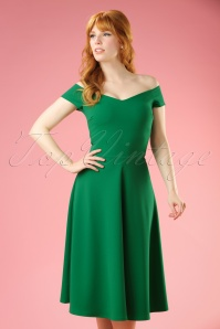 50s Emma Swing Dress in Emerald Green