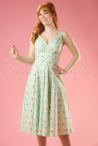 50s Odessa Bake Swing Dress in Mint Stripes