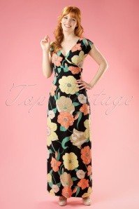 70s Lot Stellar Maxi Dress in Black