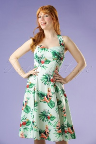 50s Lori Tropical Pin-Up Girl Swing Dress in Mint