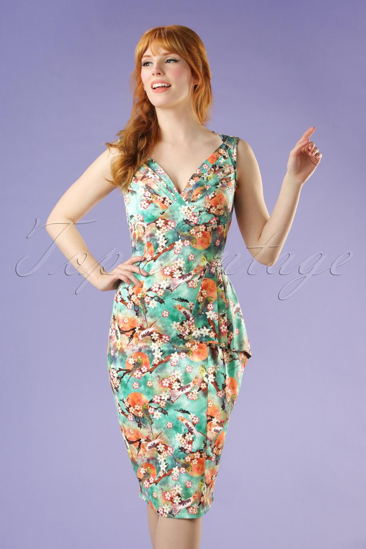 Wiggle Dresses | Pencil Dresses 50s Jessa Floral Pencil Dress in Green £55.80 AT vintagedancer.com