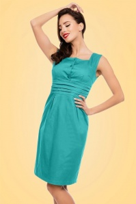 50s Pauline Pencil Dress in Turquoise