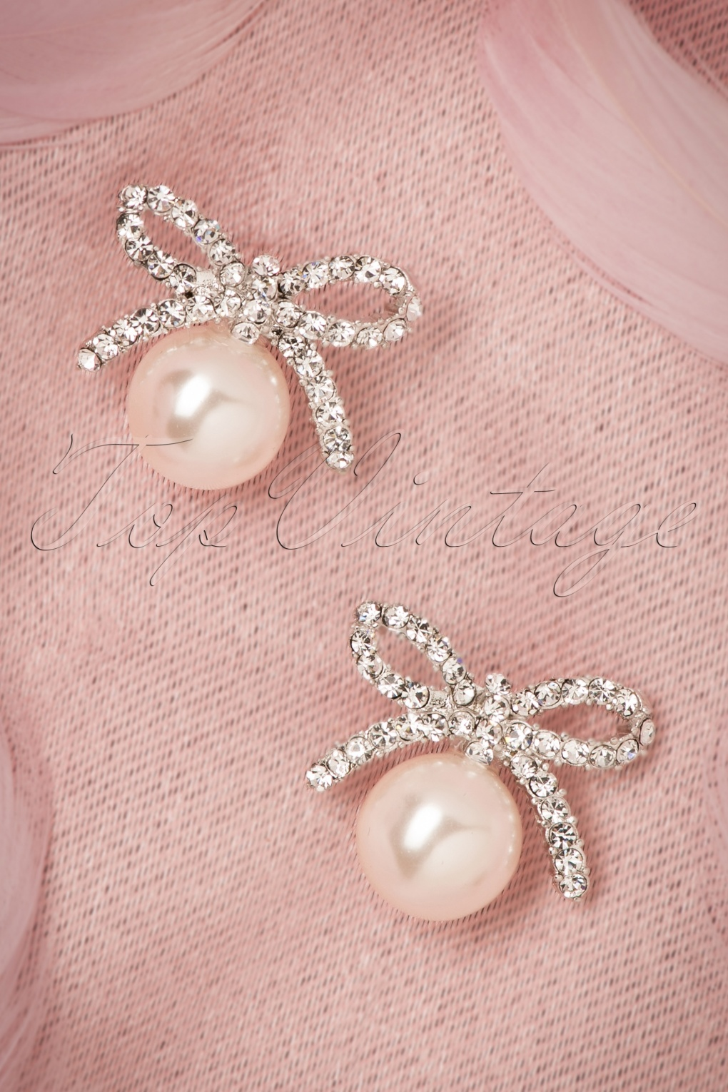 New 1940s Costume Jewelry: Necklaces, Earrings, Pins 40s Pearl and Delicate Bow Earrings in Silver £15.34 AT vintagedancer.com