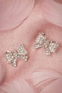 40s Sparkly Bow Earrings in Silver