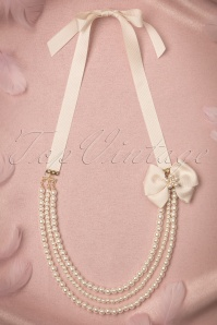 40s Ribbon and Radiant Pearls Necklace