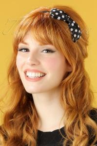 50s Polkadot Cute Bow Hair Band in Black