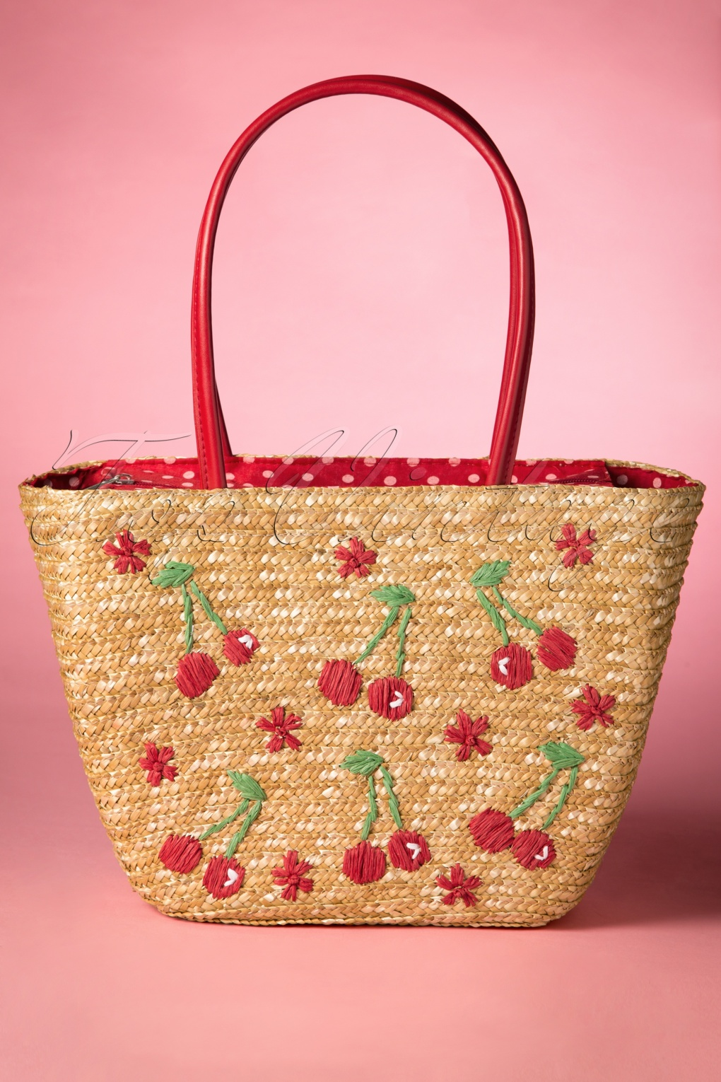 1950s Handbags, Purses, and Evening Bag Styles 50s Cherry Straw Picnic Bag £25.57 AT vintagedancer.com