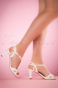 50s Mary Jane Peeptoe Pumps in White