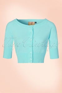 50s Raven Cardigan in Light Blue