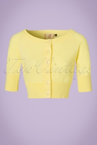 50s Raven Cardigan in Light Yellow