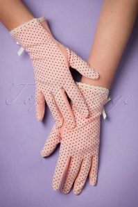 50s Christine Polka Bracelet Gloves in Pink