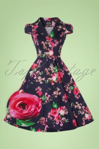 50s Noreen Floral Swing Dress in Navy