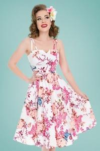 Heavenly Vintage Floral Swing Dress Années 50 en Blanc