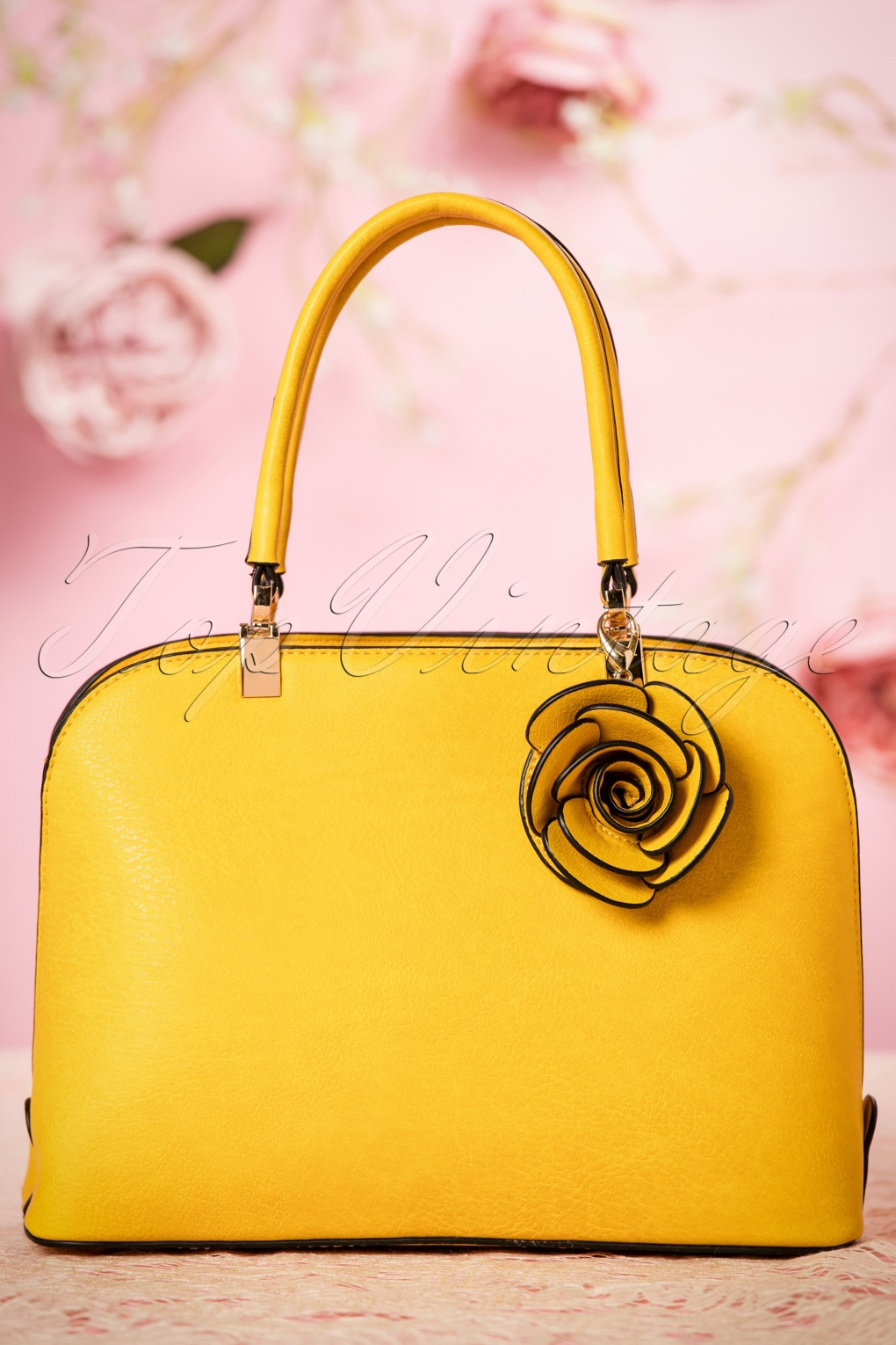 Retro Handbags, Purses, Wallets, Bags 50s Loretta Rose Handbag in Yellow £42.64 AT vintagedancer.com