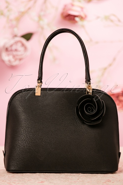 La Parisienne Black Handbag with rose 212 10 22030 05042017 004W