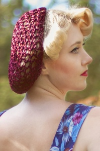 40s Lily Hair Snood in Burgundy