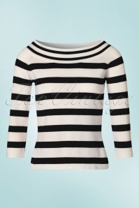 50s Ahoi Stripes Top in Black and White