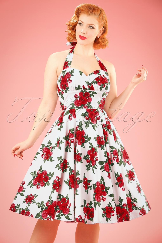 50s Cannes Roses Halter Swing Dress In White