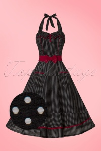 50s Star Crossed Polkadot Swing Dress in Black