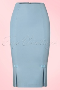 50s Guideing Light Pencil Skirt in Baby Blue