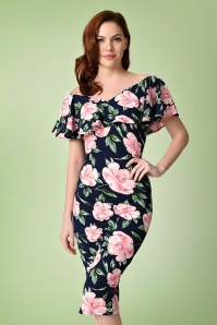 Unique Vintage Floral Wiggle Pencil Dress 100 39 21461 20170510 0010