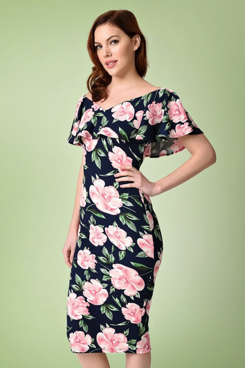 Unique Vintage Floral Wiggle Pencil Dress 100 39 21461 20170510 0009