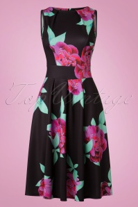 50s Veronica Floral Flare Dress in Black