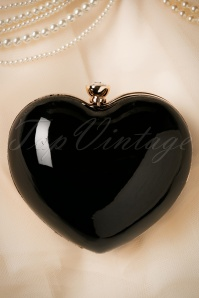50s Starburst Heart Clutch in Black