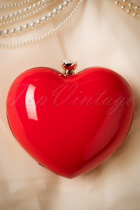 50s Starburst Heart Clutch in Red