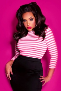 Vixen by Micheline Pitt Bad Girl Top Pink White Stripes 113 29 21936 01