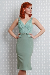Miss Candyfloss Mint Beads, Pearls and Lace Pencil Dress 100 40 20618 20170510 0013