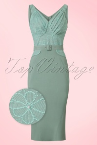 Miss Candyfloss Mint Beads, Pearls and Lace Pencil Dress 100 40 20618 20170510 0004wv