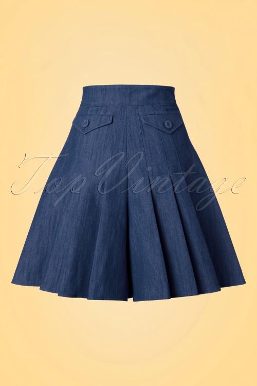 Miss Candyfloss50s Vivian Wide Leg Shorts in Navy
