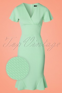 50s Peggy Waterfall Pencil Dress in Mint