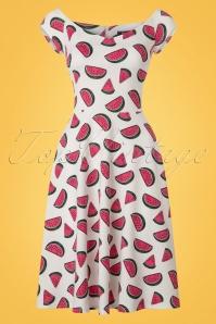 50s Emma Watermelon Swing Dress in White