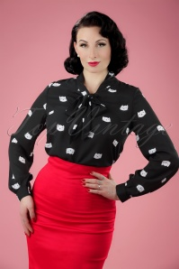 Retrolicious Cat Bow Blouse 112 14 20475 20170331 0008W