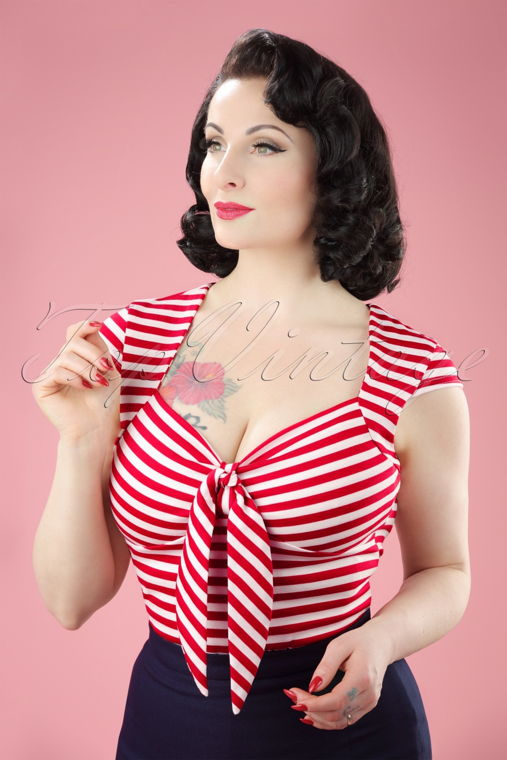 1950s Rockabilly & Pinup Tops, Shirts, Blouses 50s Tatiana Tie Top in Red and White Stripes £24.61 AT vintagedancer.com