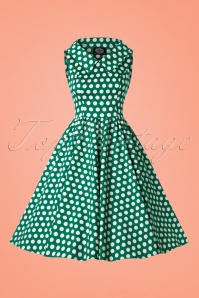 50s Tracy Polkadot Swing Dress in Dark Green