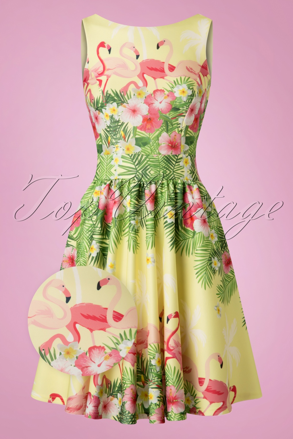 Pin Up Dresses | Pin Up Clothing 50s Tea Flamingo Swing Dress in Light Yellow £68.68 AT vintagedancer.com