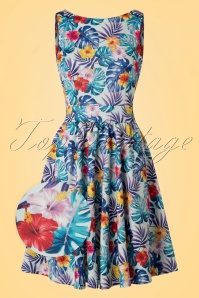 TopVintage exclusive ~ 50s Tea Tropical Leaves Swing Dress in Light Blue