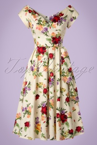 50s Harriet Vintage Red Rose Swing Dress in Cream