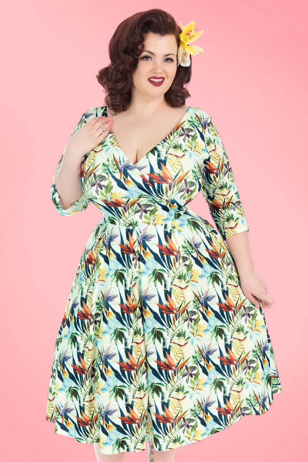 Plus Size Retro Dresses 50s Marcella Tropical Dress in Cream £70.32 AT vintagedancer.com
