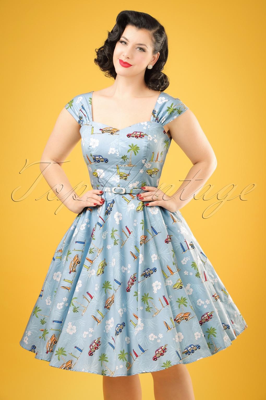 500 Vintage Style Dresses for Sale 50s Sandra Car Swing Dress in Light Blue £36.25 AT vintagedancer.com