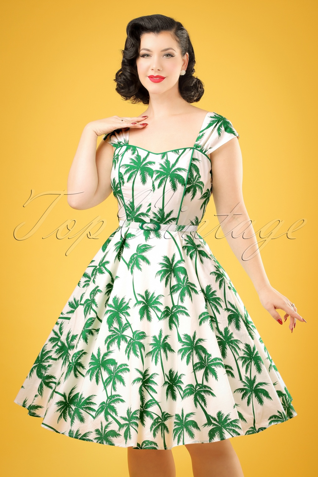 1940s Pinup Dresses for Sale 50s Sandra Palm Swing Dress in White and Green £61.53 AT vintagedancer.com