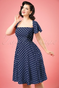 50s Juliet Polka Dot Swing Dress in Navy