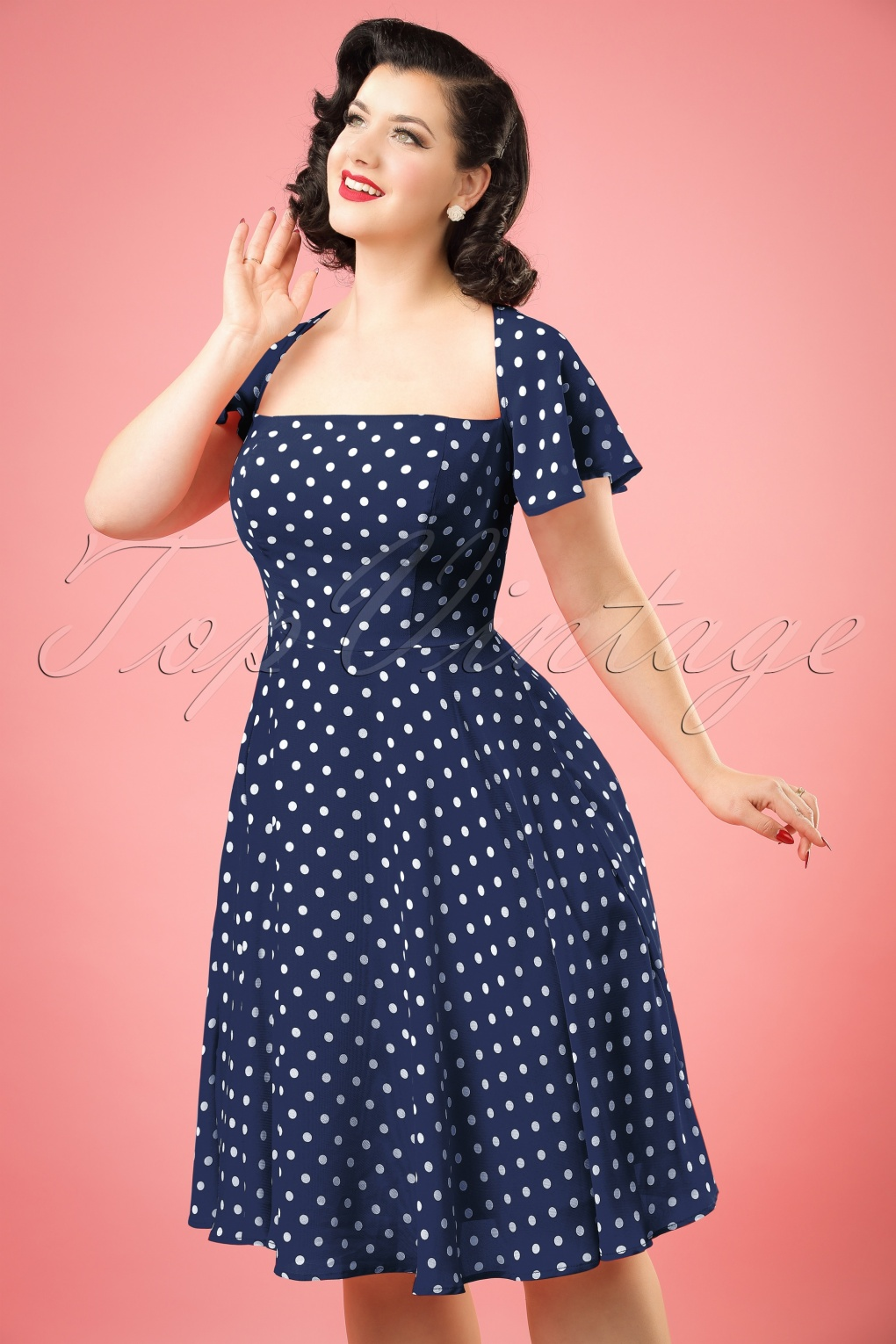 Vintage Inspired Clothing Stores 50s Juliet Polka Dot Swing Dress in Navy £61.42 AT vintagedancer.com