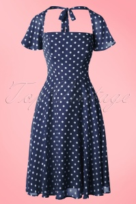 Aida Zack Juliet Polkadot Swing Dress in Navy 20103 20161128 0003w